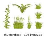 green grass set. lawns and... | Shutterstock .eps vector #1061980238