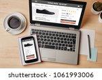 online shop concept on laptop...   Shutterstock . vector #1061993006