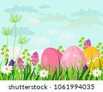 happy easter eggs card vector...   Shutterstock .eps vector #1061994035