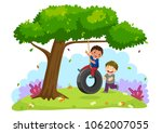 vector illustration of happy... | Shutterstock .eps vector #1062007055