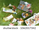 high angle view of group of... | Shutterstock . vector #1062017342