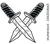 crossed knives cartoon... | Shutterstock .eps vector #1062018665