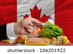 man stretching out credit card to buy food in front of complete wavy national flag of canada - stock photo