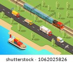 isometric logistic... | Shutterstock .eps vector #1062025826