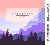 beautiful peaceful mountain... | Shutterstock .eps vector #1062036935
