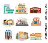 city buildings. fire station, hospital, police, café, university, library. flat design. vector