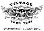 vintage skull with wings on the ... | Shutterstock .eps vector #1062041042