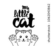 white cat. lettering with text  ... | Shutterstock .eps vector #1062043862