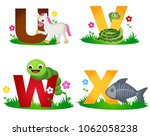 animal alphabet letter u v w x... | Shutterstock .eps vector #1062058238