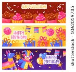 birthday party 3 horizontal... | Shutterstock .eps vector #1062059735