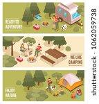 summer camping hiking... | Shutterstock .eps vector #1062059738