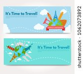 it s time to travel.trip to...   Shutterstock .eps vector #1062073892