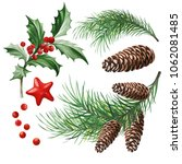 christmas symbols   holly... | Shutterstock .eps vector #1062081485