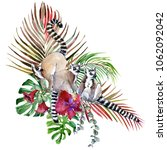hand drawn watercolor tropical... | Shutterstock . vector #1062092042