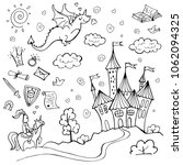 hand drawn doodle fairytale set ... | Shutterstock .eps vector #1062094325