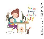 working at home mother ...   Shutterstock .eps vector #1062118502