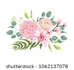 pink hydrangea  powder rose ... | Shutterstock .eps vector #1062137078