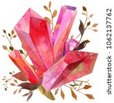 watercolor red ruby crystal... | Shutterstock . vector #1062137762