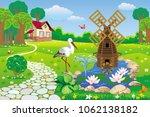 vector beautiful garden with... | Shutterstock .eps vector #1062138182