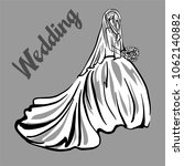 beautiful bride. wedding dress. ... | Shutterstock .eps vector #1062140882