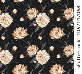 seamless  pattern with peonies. | Shutterstock . vector #1062147068