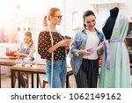 three girls at garment factory. ... | Shutterstock . vector #1062149162