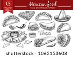 vector set with mexican food... | Shutterstock .eps vector #1062153608