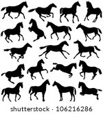 Stock vector horse collection vector silhouette 106216286