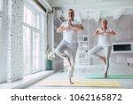 senior couple is doing fitness... | Shutterstock . vector #1062165872
