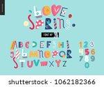 kids flat alphabet set   love... | Shutterstock .eps vector #1062182366