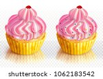 two pink cupcake decorated with ...   Shutterstock .eps vector #1062183542