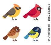 set of cute cartoon small birds ... | Shutterstock .eps vector #1062183818