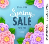 floral spring sale banner with... | Shutterstock .eps vector #1062184988