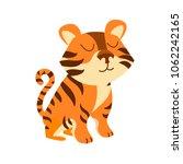 a cute cartoon tiger.... | Shutterstock .eps vector #1062242165