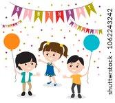 kids birthday celebration vector | Shutterstock .eps vector #1062243242