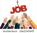 job on a hook. hands reaching... | Shutterstock .eps vector #1062245645