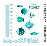 cute fishes. meter wall or... | Shutterstock .eps vector #1062248978