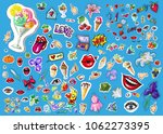 big vector set of cute funny... | Shutterstock .eps vector #1062273395