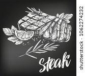 food meat  steak  roast set ... | Shutterstock .eps vector #1062274232