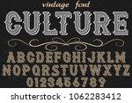 vintage font handcrafted vector ... | Shutterstock .eps vector #1062283412