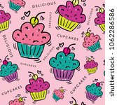 delicious cupcakes drawings... | Shutterstock .eps vector #1062286586