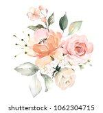 watercolor flowers. floral... | Shutterstock . vector #1062304715