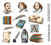 colored symbols of literature... | Shutterstock .eps vector #1062305525