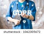 doctor pressing button gdpr...   Shutterstock . vector #1062305672