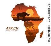 africa map.silhouettes of wild... | Shutterstock .eps vector #1062308606