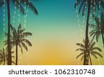 silhouette palm tree and... | Shutterstock .eps vector #1062310748