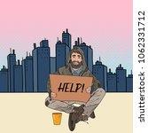 pop art homeless man. male... | Shutterstock .eps vector #1062331712