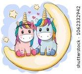 Two Cute Cartoon Unicorns Are...