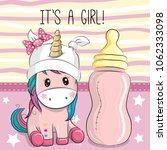 cute cartoon unicorn girl with... | Shutterstock .eps vector #1062333098
