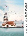 paint of kiz kulesi or maiden's ... | Shutterstock . vector #1062336182